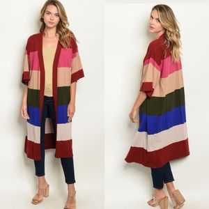 Sweaters - Multicolor Striped Cardigan Duster Sweater Top